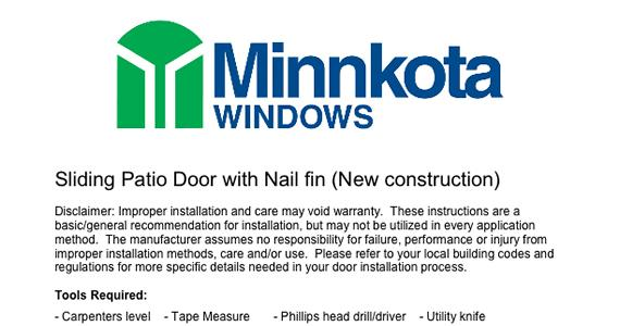 Patio Door Installation Instructions